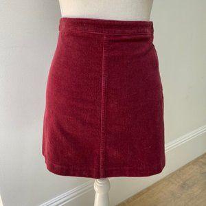 F21 Corduroy Maroon Mini Skirt